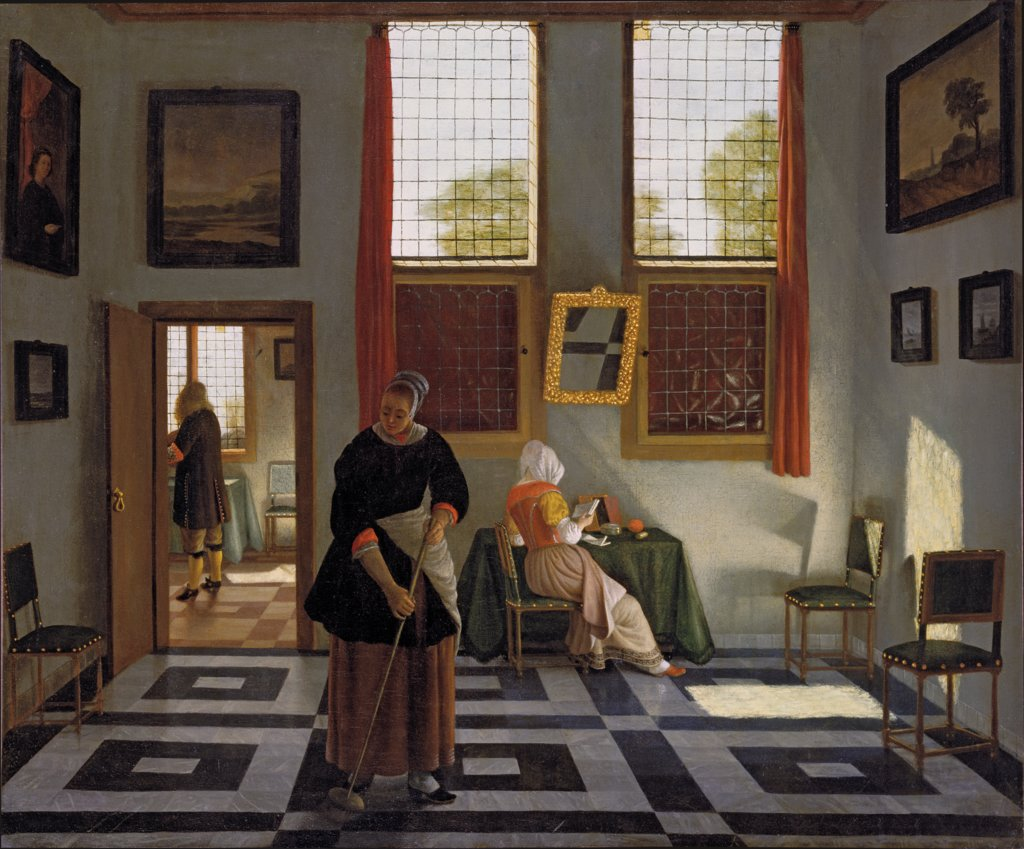 Interior with Painter, Woman Reading and Maid Sweeping, Pieter Janssens Elinga, 1668.jpg