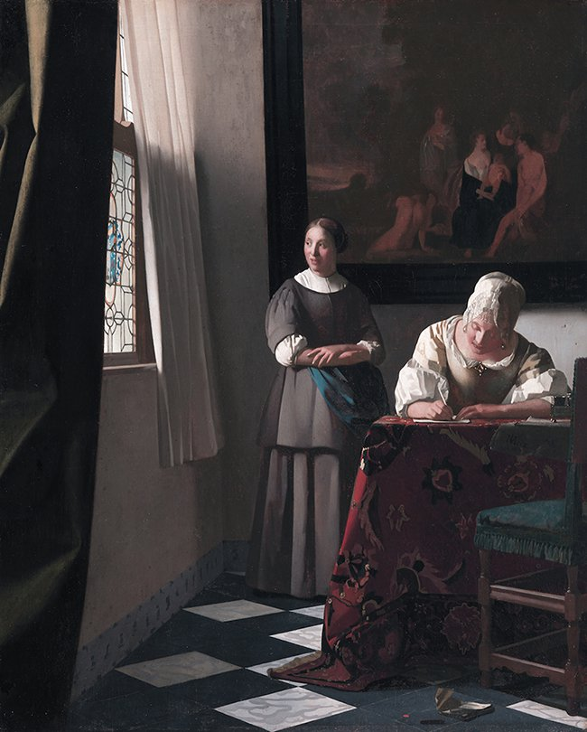 Lady Writing a Letter with her Maid, Johannes Vermeer, 1671.jpg