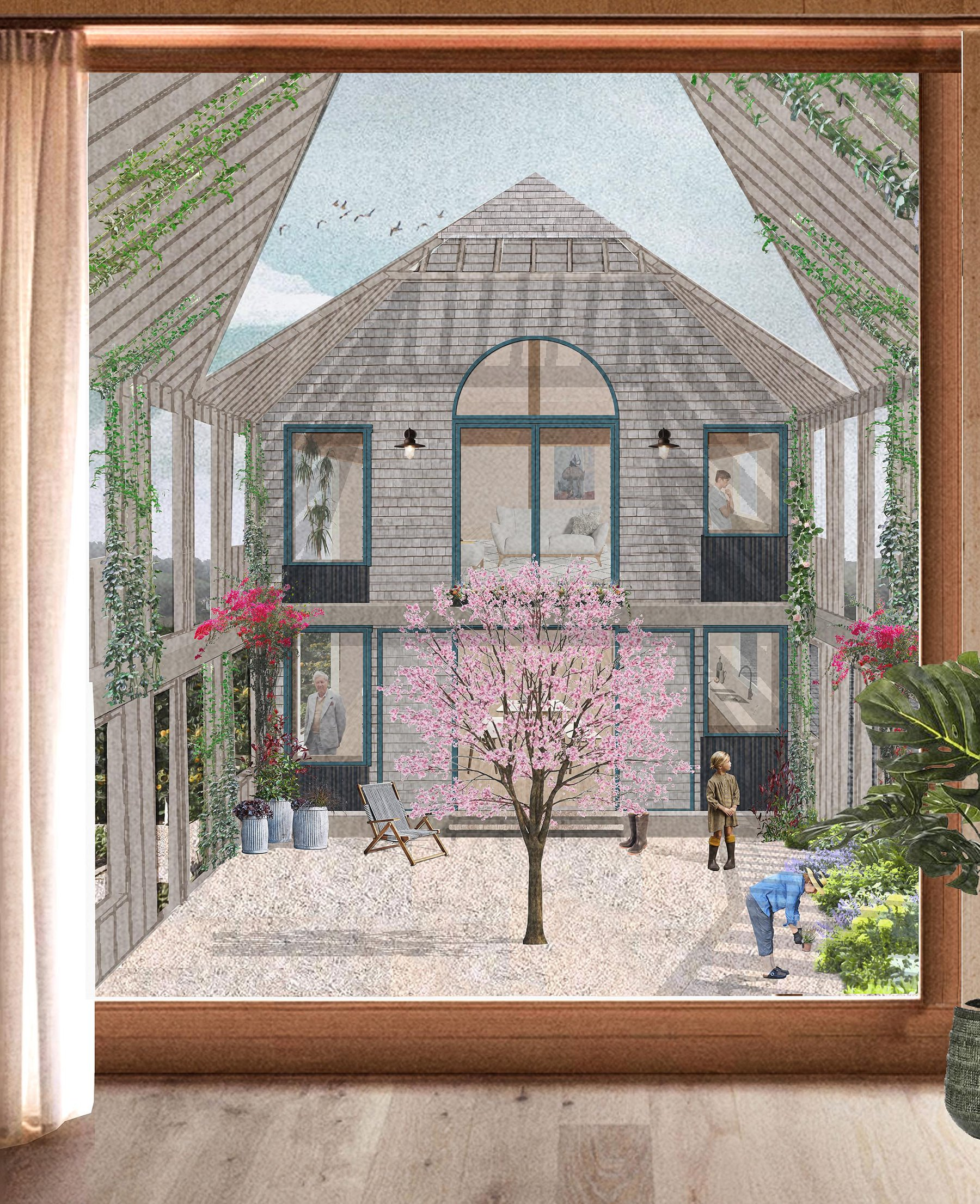 Mariam Shirley, Courtyard Collage, The typology takes influence from the historic barns typically found in rural England and notable on the site of Vearse Farm in Bridport. The timber structure forms a deep buil.jpg