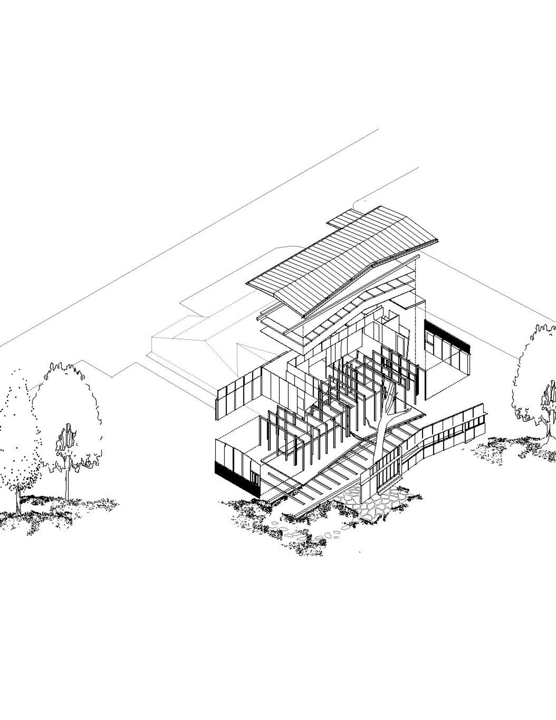 Mariam Shirley, Exploded Axonometric of Plywood House by Herzog & de Meuron, The new building is lightweight, sitting on projecting sleepers to protect the tree roots and consisting of a balloon - frame construc.jpg