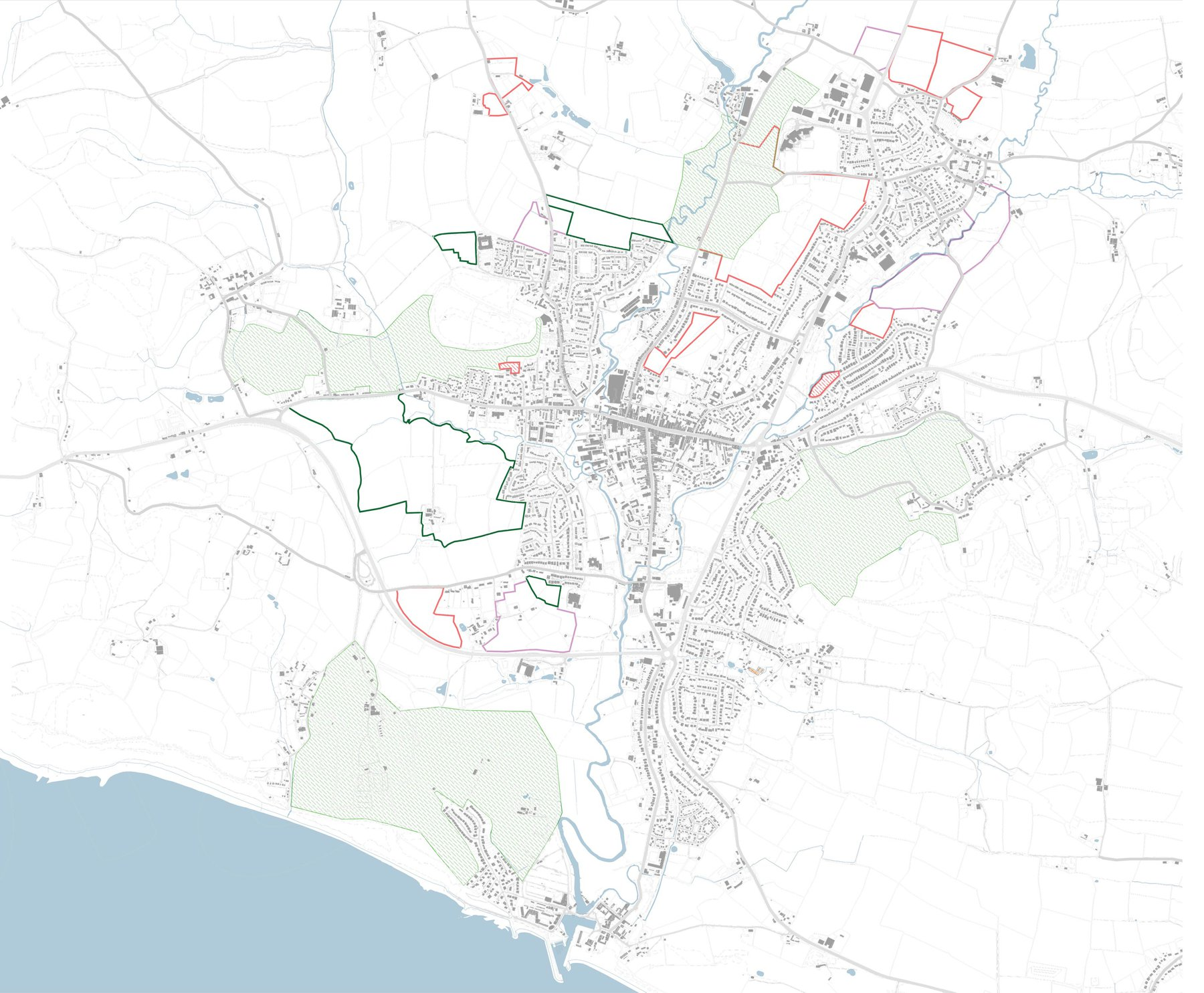 Mariam Shirley, Greenfield Development Plan, A drawing that explores the relationship between the green gaps anti coalescence areas identified in Bridport's Neighbourhood Plan and the call for sites and proposed.jpg