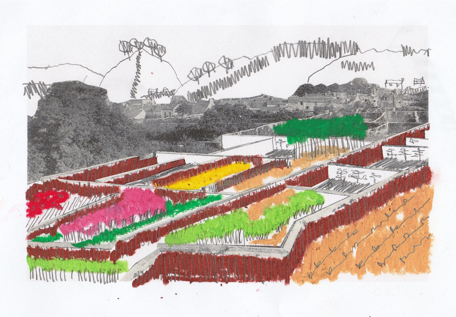 Morgan Davies,Triptych (3), How the walled landscape begins to formulate to the surrounding countryside.jpg