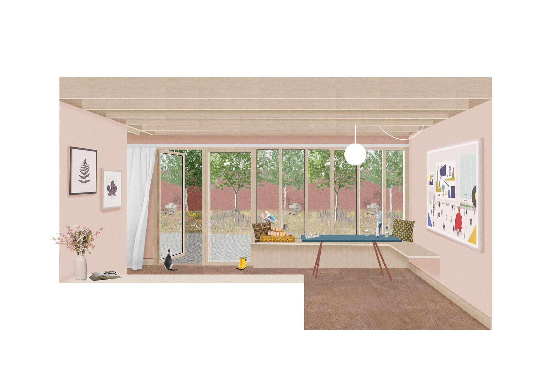 Morgan Davies, Interior Perspective, A workspace with view into walled garden.jpg