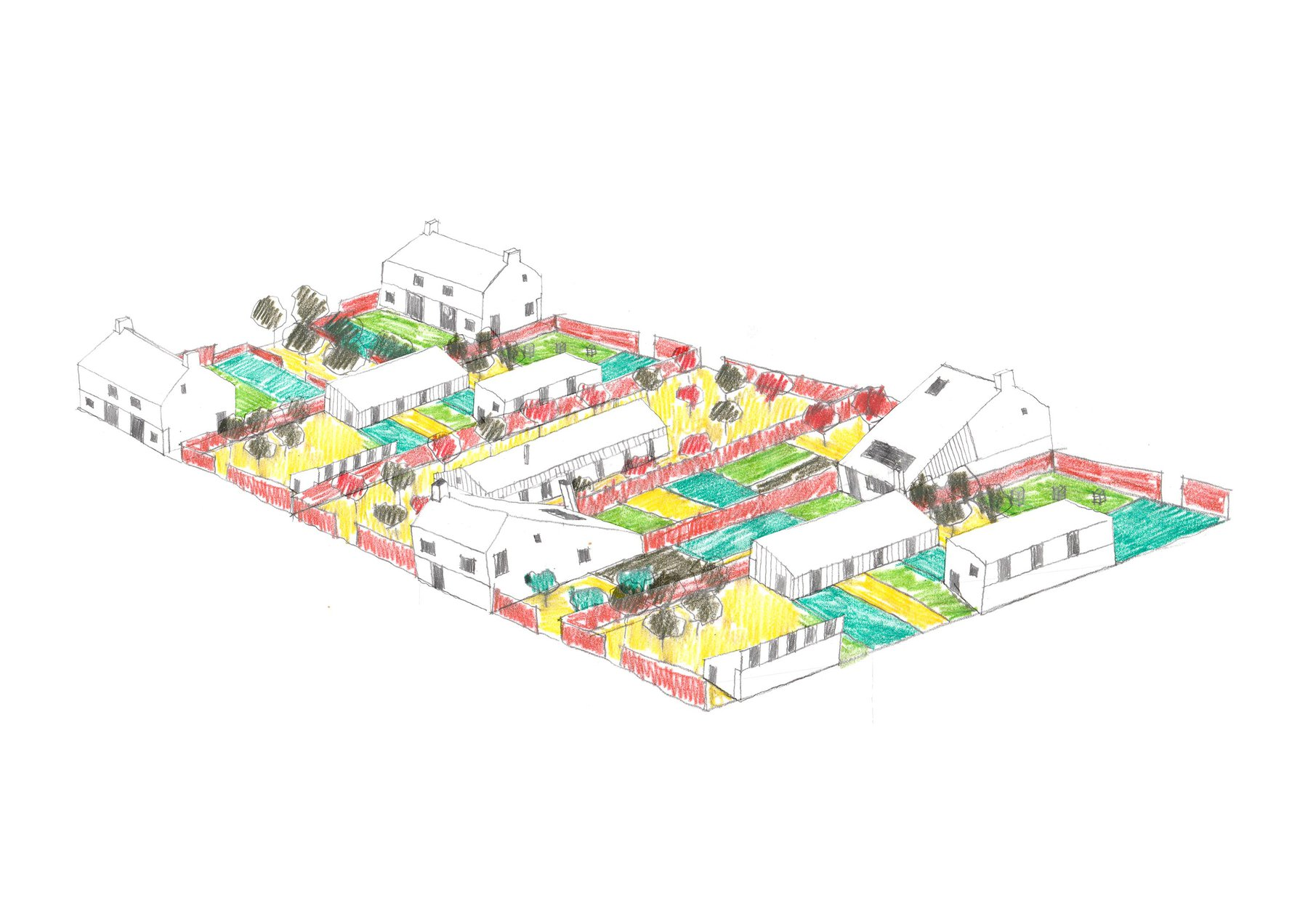 Morgan Davies, Plotlands, A neighbourhood scale drawing showing a number of plots working in conjunction with one another.jpg